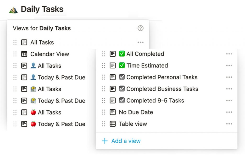Notion Filters inside Daily Tasks