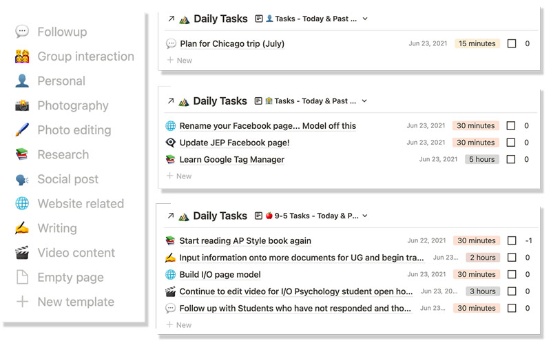 Notion icons and Today & Past Due filters for personal, business, and 9-5